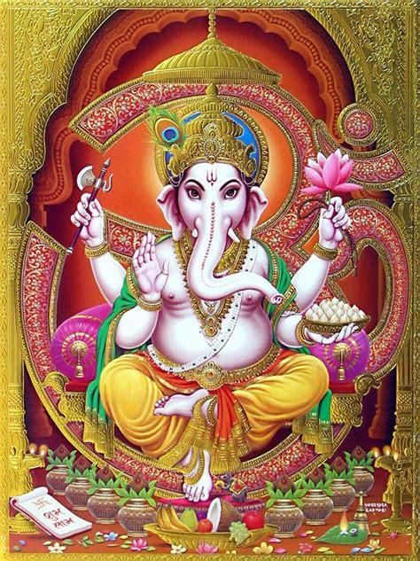 hindu god om lord ganesha with om