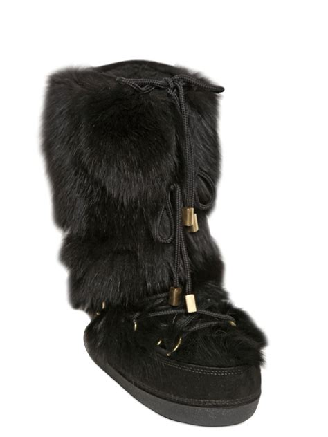 snow boots with fur dsquared 178 fox fur suede snow boots in black lyst