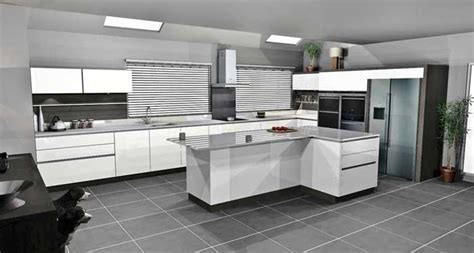 L Shaped Kitchen Islands white handleless lacquer with terra oak panelling in
