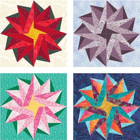 paper pattern blocks poinsettia star free paper pieced quilt block pattern