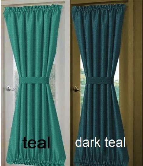 teal door curtain solid turquoise or teal french door curtain panels