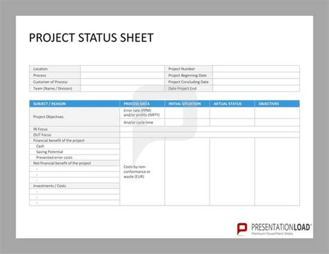 Project Status Sheet Six Sigma Powerpoint Templates Http Www Presentationload Com Six Status Page Template