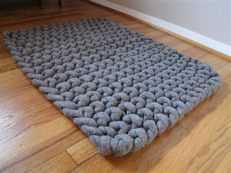 knitting with roving wool knit thick wool felt roving rug in gray