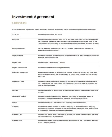 13 Sle Business Investment Agreements Sle Templates Investor Agreement Template