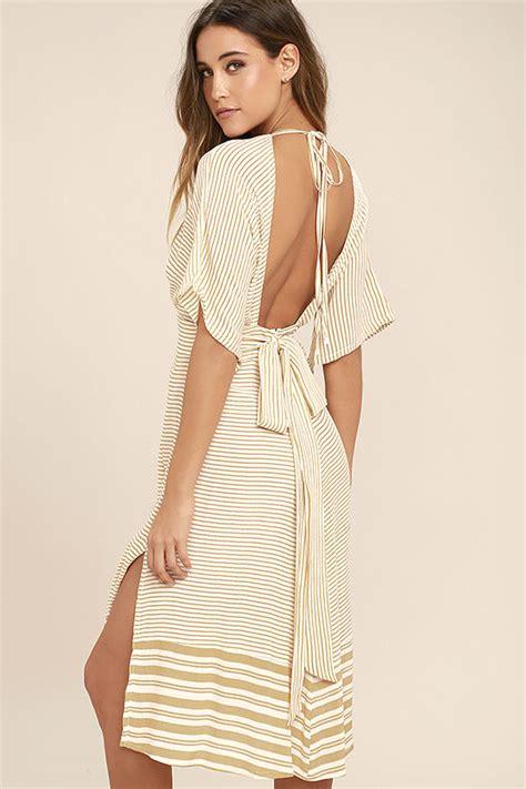 Midi Dress Brand Korz faithfull the brand mustang beige striped midi dress shopperista