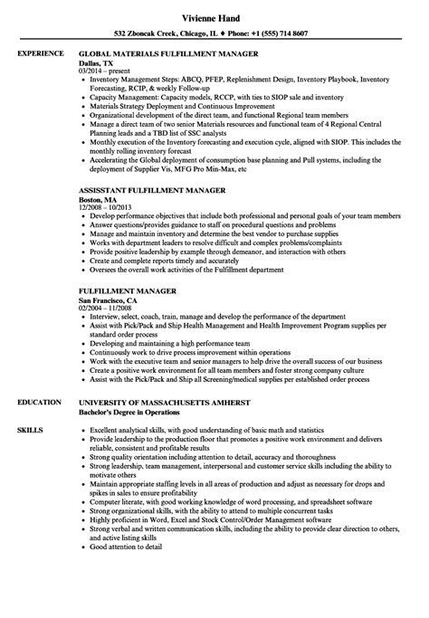 Fulfillment Manager Resume