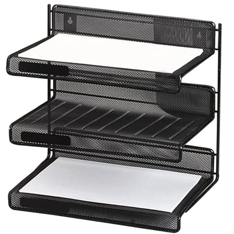 staples black wire mesh 3 tier desk shelf rolodex expressions mesh 3 tier desk shelf black 1