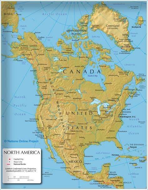 map of south canada the map shows the states of america canada usa and