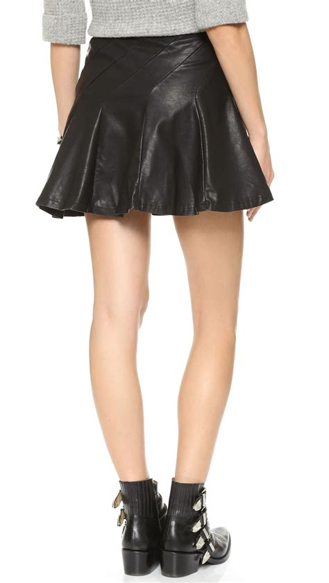 free about a faux leather skirt in black lyst