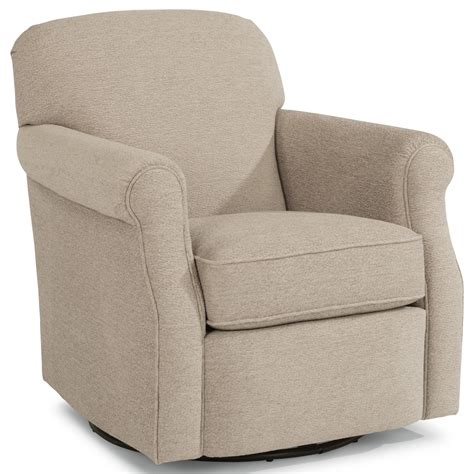 Flexsteel Mabel Casual Swivel Chair With Rolled Arms Flexsteel Swivel Chair