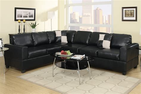 L Shaped Black Leather Sofa by Black Bonded Leather L Shape Sofa Sectional Set Reversible