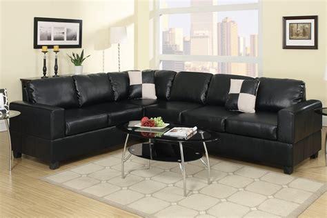 black bonded leather l shape sofa sectional set reversible