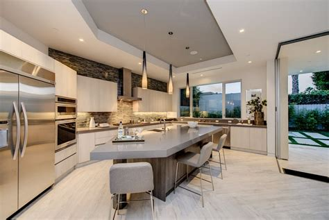 modern kitchen cabinets los angeles modern kitchen with breakfast bar pendant light in los