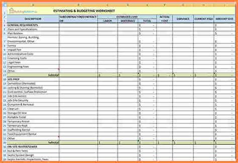 Excel Spreadsheet For Construction Estimating by 9 Building Construction Estimate Spreadsheet Excel