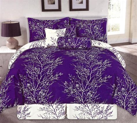 purple comforter set queen 7 pc embellished tree forest floral bedding comforter set