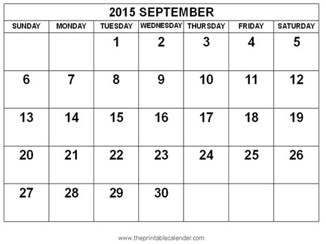 printable monthly planner 2015 september 2015 september calendar printable free imgok
