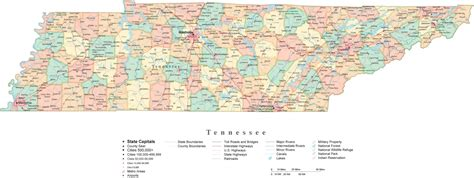 map of tennessee with cities state map of tennessee in adobe illustrator vector format