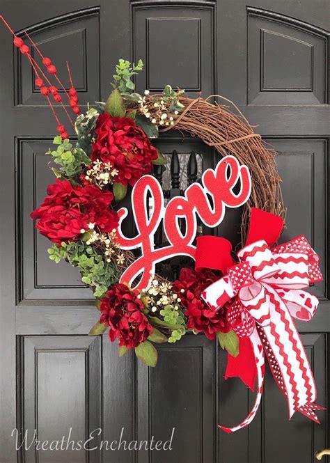 valentine wreath front door love wreath red  white