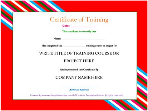 training certificate template word  ms word templates