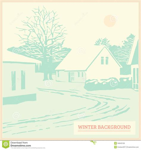 landscape greeting card template winter landscape vintage background card