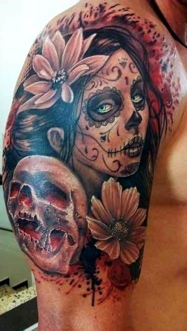 dia delos muertos tattoos for men 10 black and grey dia de los muertos tattoos on half sleeve