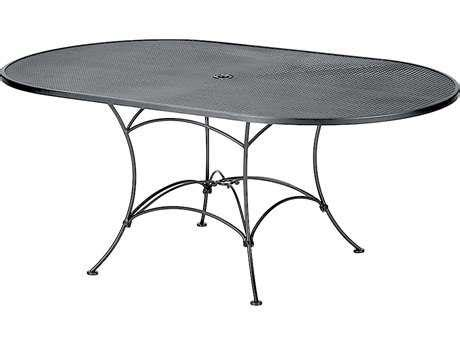 Oval Wrought Iron Patio Table Woodard Mesh Wrought Iron 72 X 42 Oval Table With Umbrella 190143