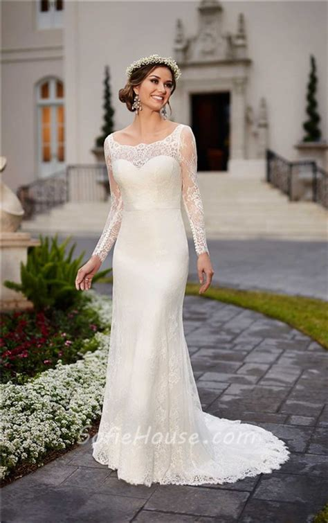 boat neck long sleeve wedding dress fitted boat neck backless ivory lace long sleeve wedding