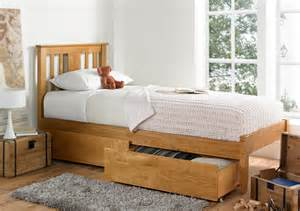 Wood Bed Frames Only Malmo Oak Finish Solo Wooden Bed Frame Single Bed Frame