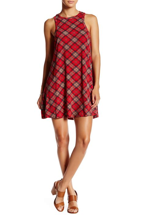 plaid swing dress angie racerback plaid swing dress nordstrom rack