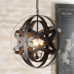 Double Metal Strap Globe Lantern Outdoor Hanging Lights