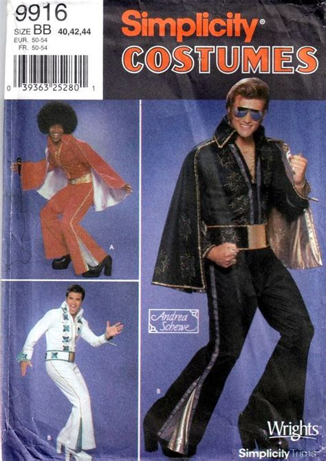 elvis jumpsuit pattern sewing simplicity 9916 mens elvis jackson 5 costume pattern