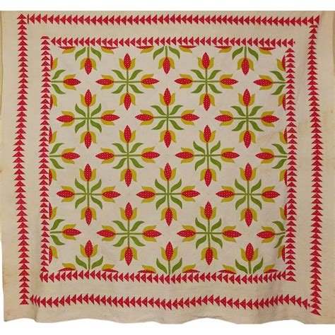 Sawtooth Quilt Border by 19th C Quilt Applique Tulips Sawtooth Border A From