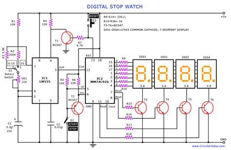 digital electronic circuits digital stop and digital timer circuit