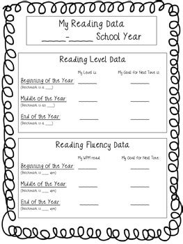Reading Fluency And Benchmark Data Sheet For Student Data Notebooks Middle School Student Data Notebooks Templates
