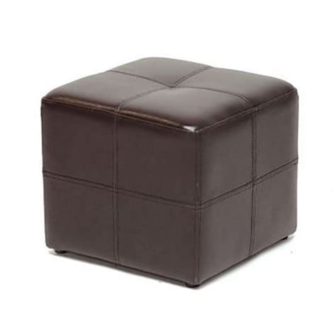 Brown Leather Cube Ottoman baxton studio nox bonded leather cube ottoman brown staples 174