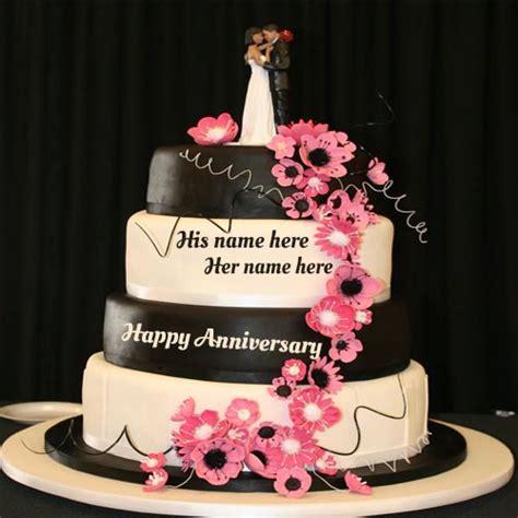 write  couple   happy wedding anniversary cake pic