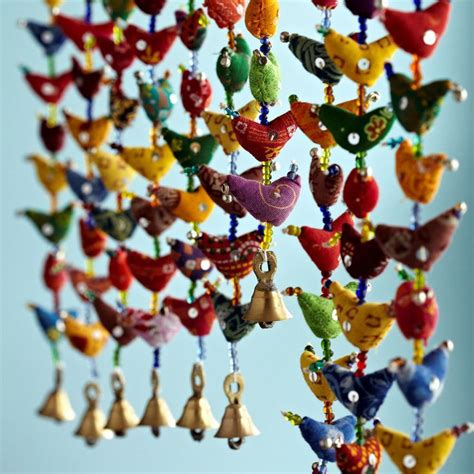 Hanging Paper Bird Decorations by Fair Trade 30 Bird Bell Tota Traditional Indian Hanging