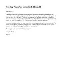 bridesmaid email template bridesmaid thank you letter sle