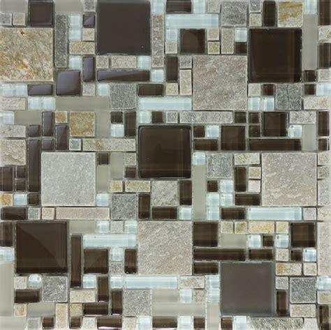 mosaic pattern tiles backsplash 10sf brown gray glass natural stone pattern mosaic tile