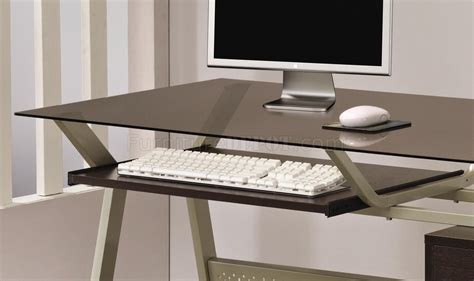 Modern Glass Desk With Drawers Metal Base Smoked Glass Modern Home Office Desk W Two Drawers