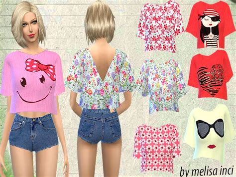 Melisa Top the sims resource floral cropped top by melisa inci