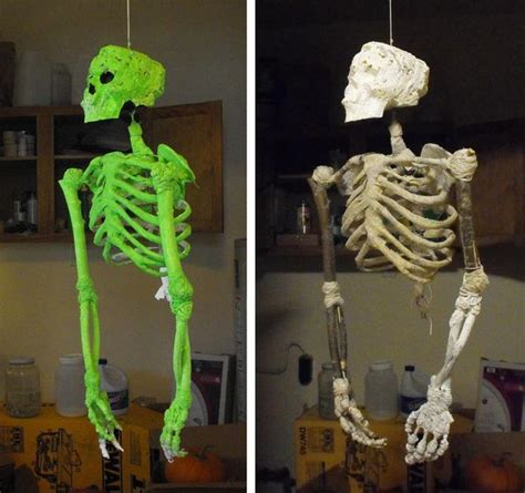 Make Your Own Paper Skeleton - diy skeleton made from sticks string foam and mache 5