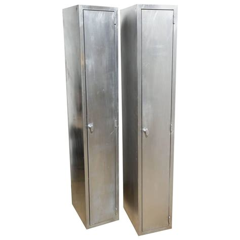 Narrow Armoire by Two And Narrow 1950s Industrial Brushed Steel