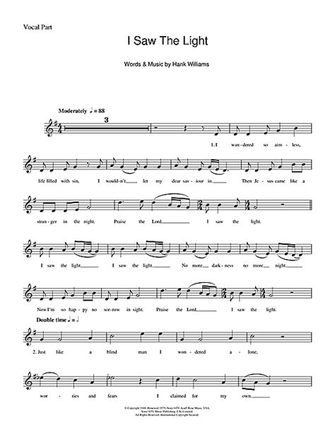 Song I Saw The Light by I Saw The Light Chords By Hank Williams Melody Line