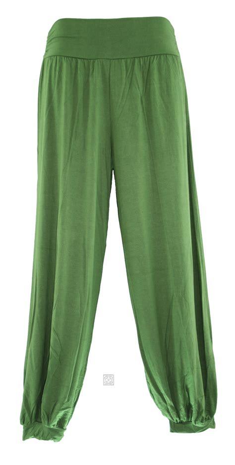 Aladin Pleats olive boho casual trousers sz s m l ebay