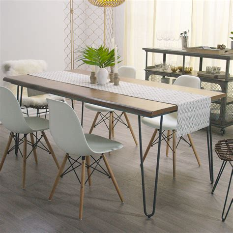wood flynn hairpin dining table wood grain and