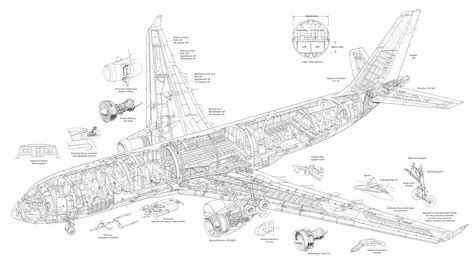 section plane engineering drawing airbus a330 200 cutaway drawing airliner cutaway