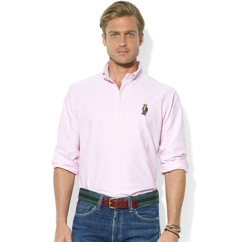 Jaket Parasut Sport Polos Pink ralph classicfit longsleeve cotton oxford polo sport shirt in pink for lyst