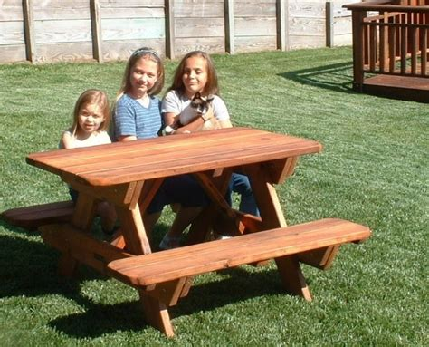 how big is a standard picnic table kid size wood picnic table with attached benches forever