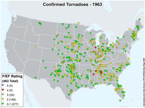 america tornado map us tornadoes map1963 u s tornadoes